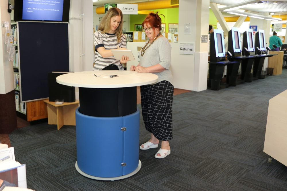 YAKETY YAK Round 1000 positioned as a help pod at Marlborough District Library (Blenheim).