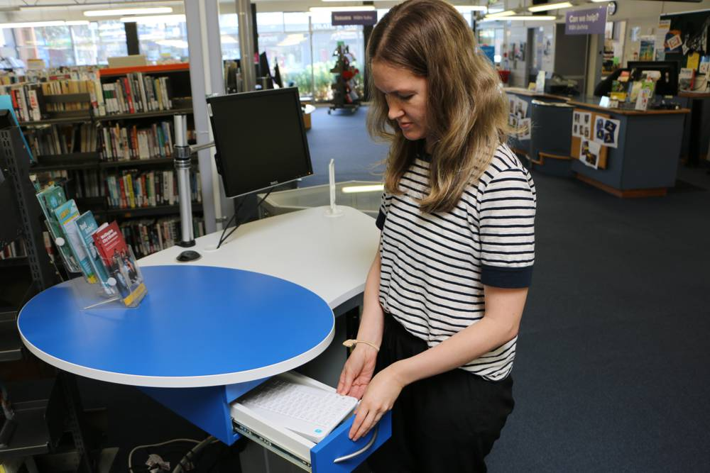 GLO Mini positioned as a staff / help station at Johnsonville Library.