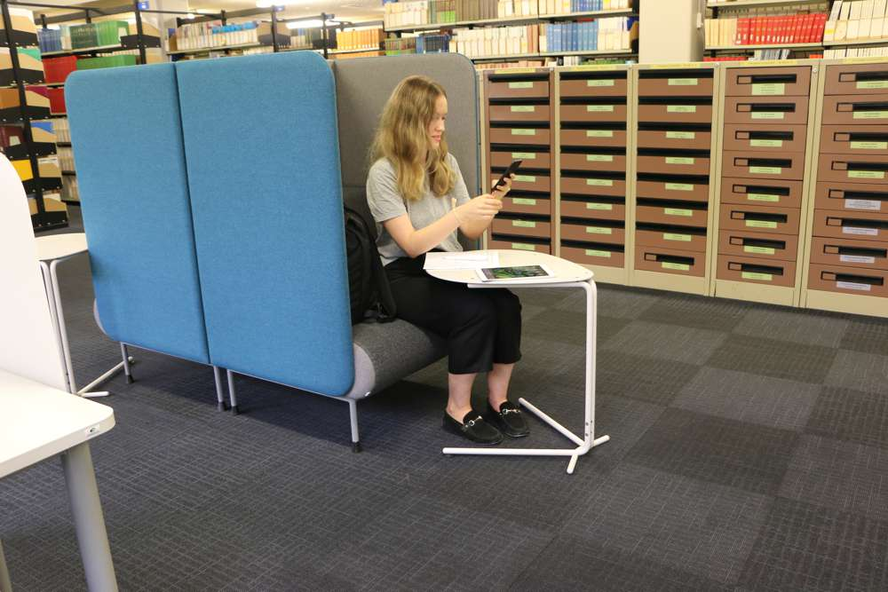 SPARROW Table teamed with MEMPHIS Booth Single, at Massey University.