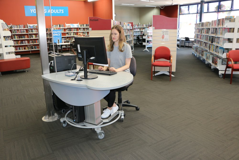 GLO MINI in the seated position, deployed as a help station at Elma Turner Library, Nelson.