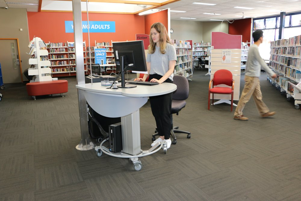 GLO MINI in the standing position, deployed as a help station at Elma Turner Library, Nelson.