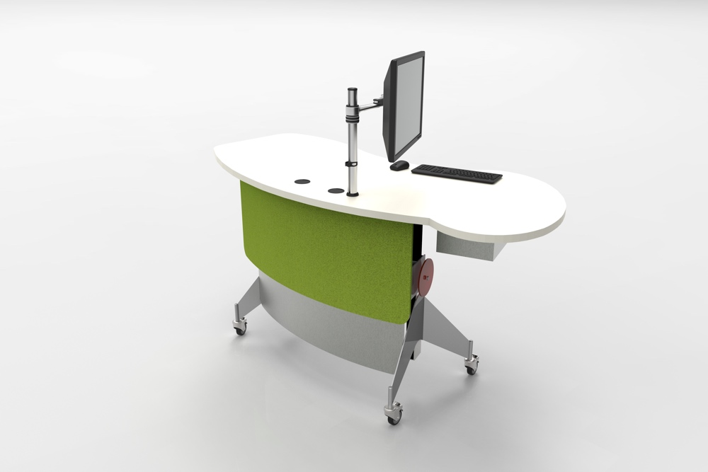 Contemporary, height adjustable issues / help station.