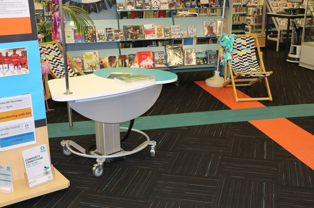 GLO MINI - a height adjustable teaching / help / roaming station at Hornsby Library.