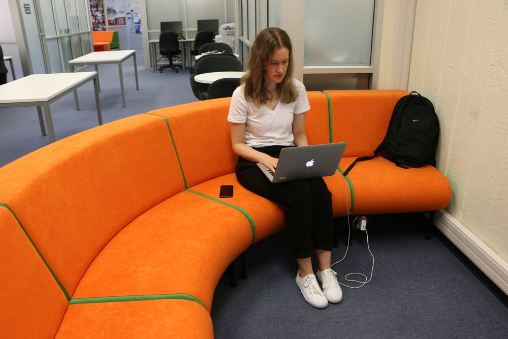 PIXEL Power Button delivers that essential power supply, teamed with MEMPHIS Radial Ottoman – outside back, at Auckland University Faculty of Education.