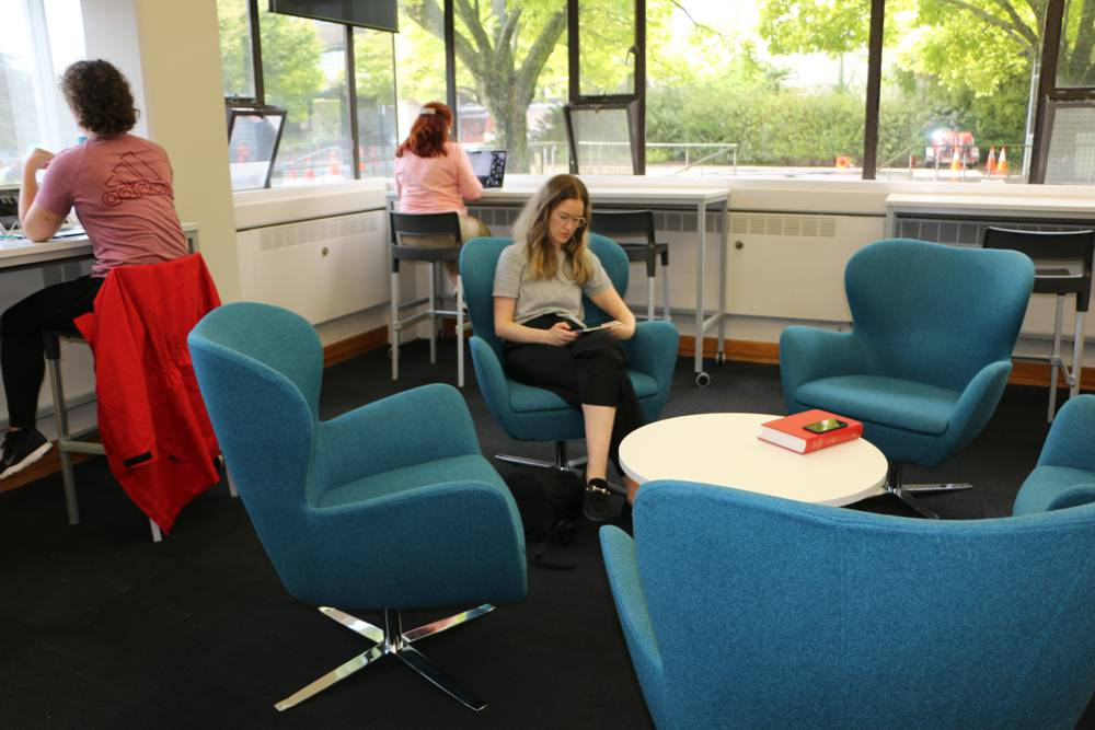 ABBEY Chairs in an informal area at Massey University, Palmerston North.