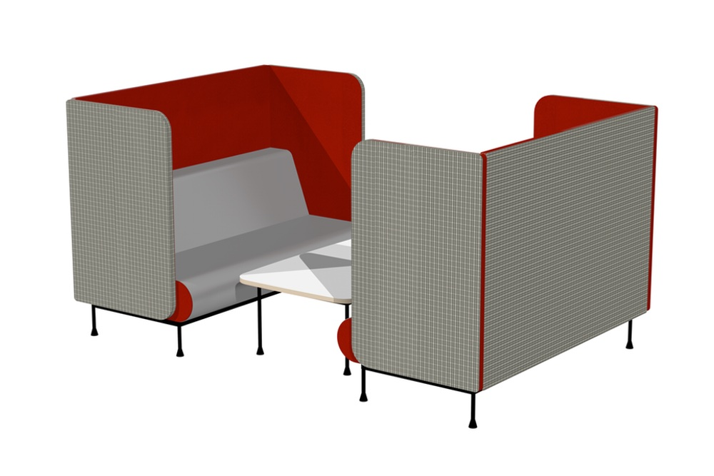 MEMPHIS Booth 1680 positioned together with MEMPHIS Low Table 1200.