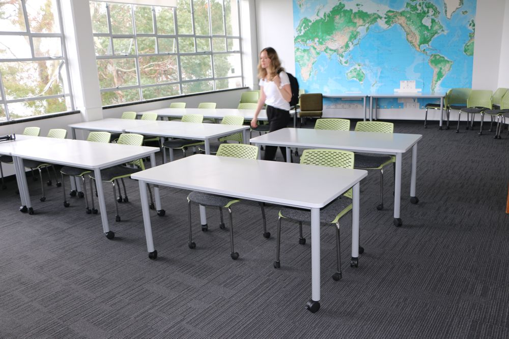 T1 RECTANGULAR Tables and PUNCH Chairs on castors, at The University of Auckland Faculty of Education.