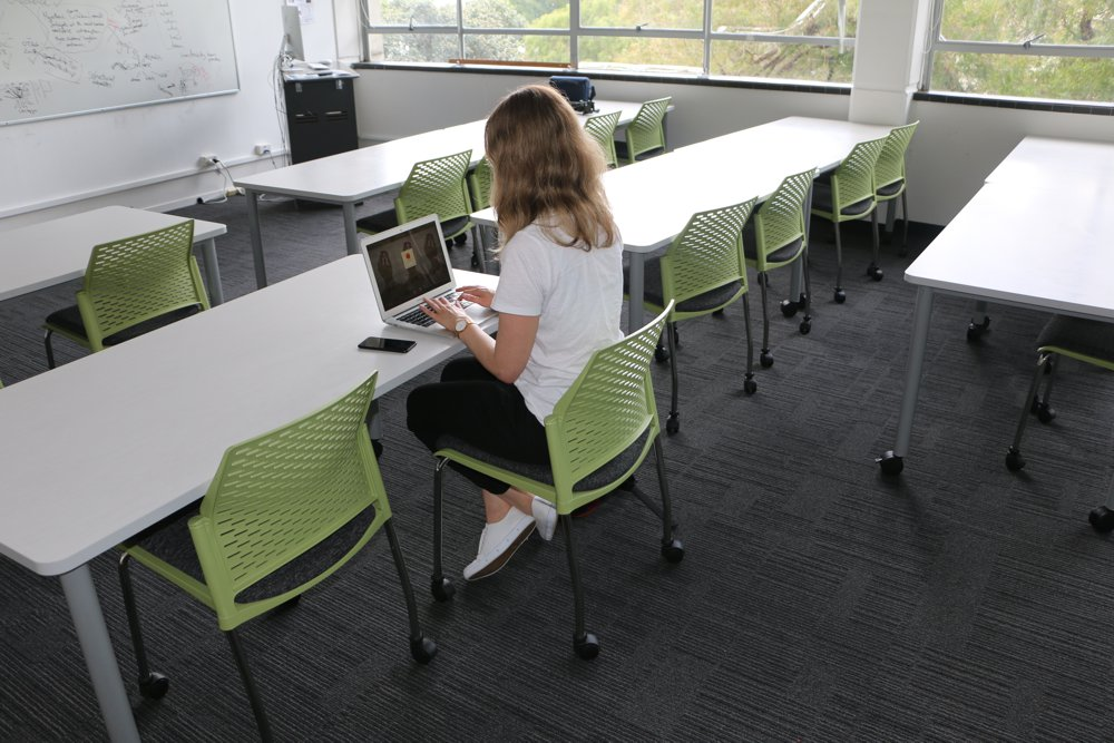 T1 RECTANGULAR Tables in white and PUNCH Chairs in muted colours make a nice combination, at The University of Auckland Faculty of Education.