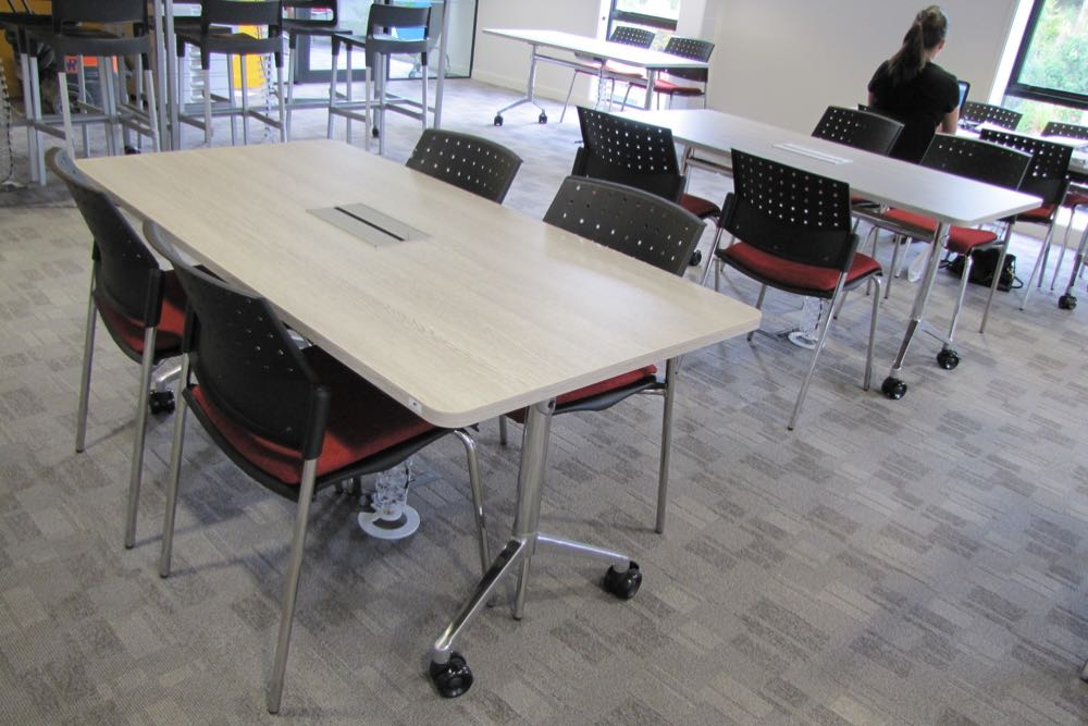 T1 RECTANGULAR Table at Carlaw Park Student Village, teamed with PUNCH Standard Chairs (upholstered seat).