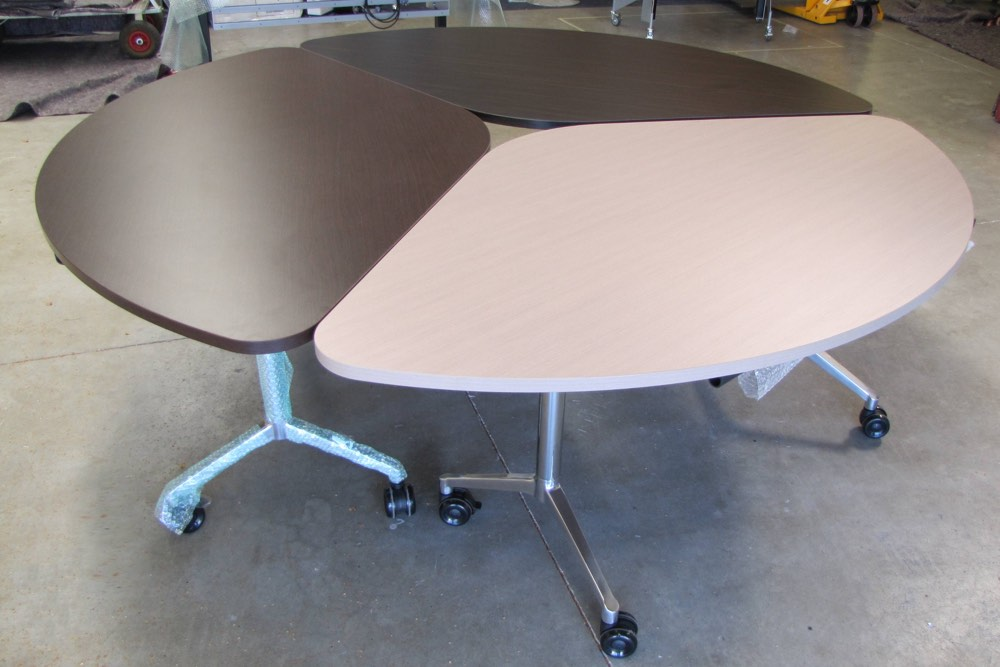 T3 TEAM Table, looking great in three wood grain options, destined for Puke Ariki Museum foyer, New Plymouth.