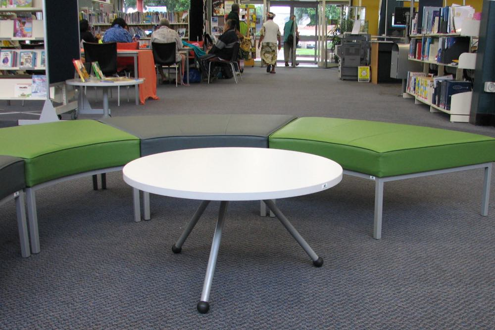 EXPRESSO Round table with our GALAXY Radial Ottomans (no backrest) at Glen Innes Library.