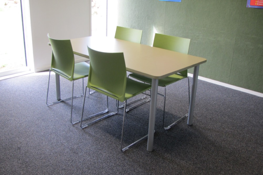 T1 RECTANGULAR Tables (standard option) at MIT Otara, teamed with WEB Sled Based Chairs.