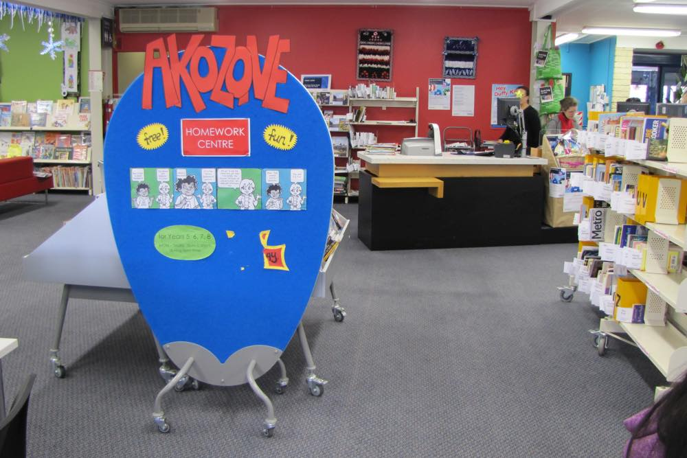 EGG Screen in use as a space divider and notice board, at Mt Roskill Library.