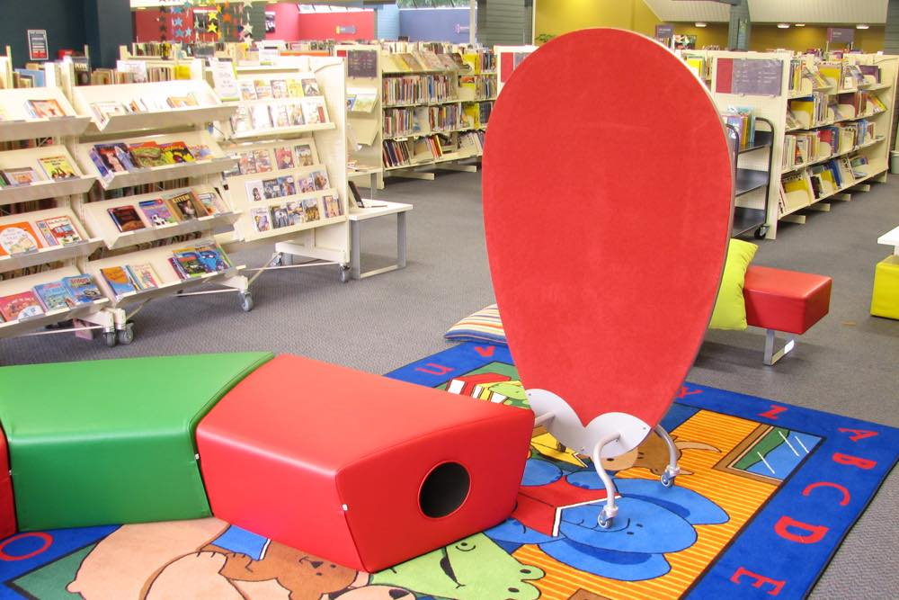EGG Screen forms a private space, in the kids area at Mt Roskill Library.