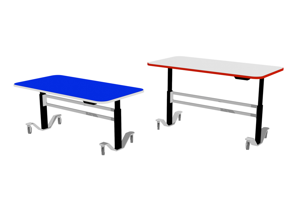 T1 RECTANGULAR Table with the seated to standing height adjustability option.