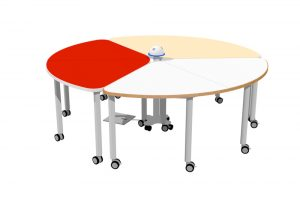 T3 TEAM Table shown in three popular colours and teamed with our HITCH Recharge Station.