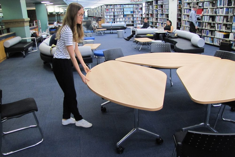 T3 TEAM Table easily transforms from one large table (seating up to 9) to three smaller tables (seating up to 5).