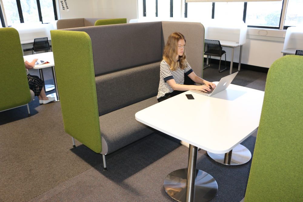 T7 RECTANGULAR Soft Form Table / Twin-Pedestal, and MEMPHIS Booths, at Massey University, Wellington.