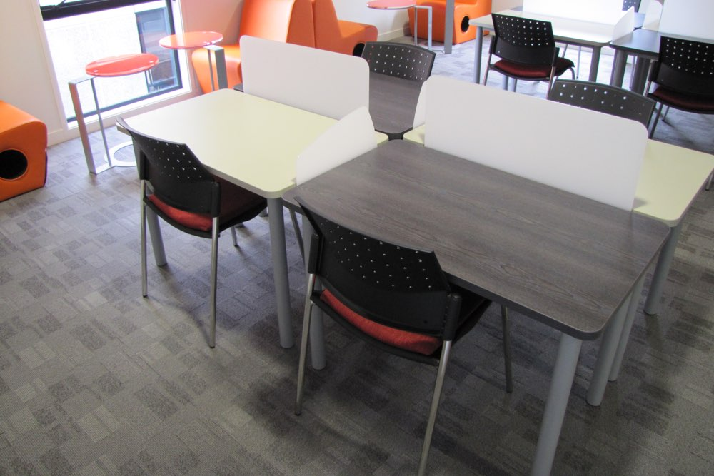 Socrates FLICK Study Stations, teamed with PUNCH Standard Chairs (upholstered option).