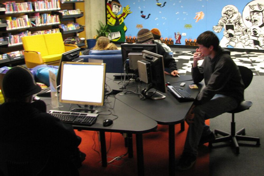 Socrates DELTA Workstation pod, in the youth zone at Dunedin Library.