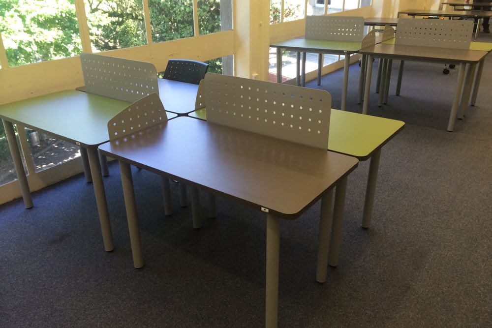 Socrates FLICK Study Station groupings with perforated steel FLICK Screens, at The University of Auckland Fine Arts Library.