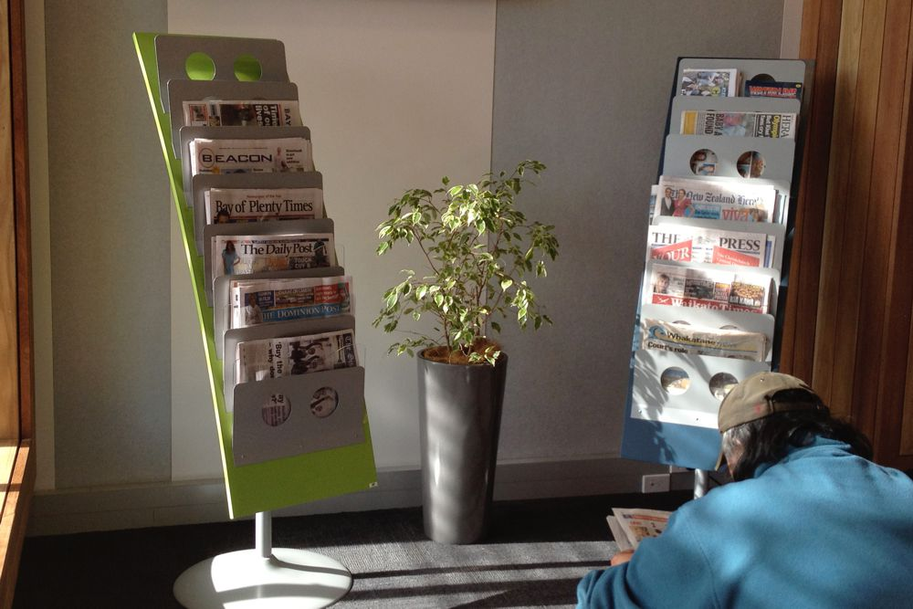 WOW NEWS Stands at Whakatane Library.
