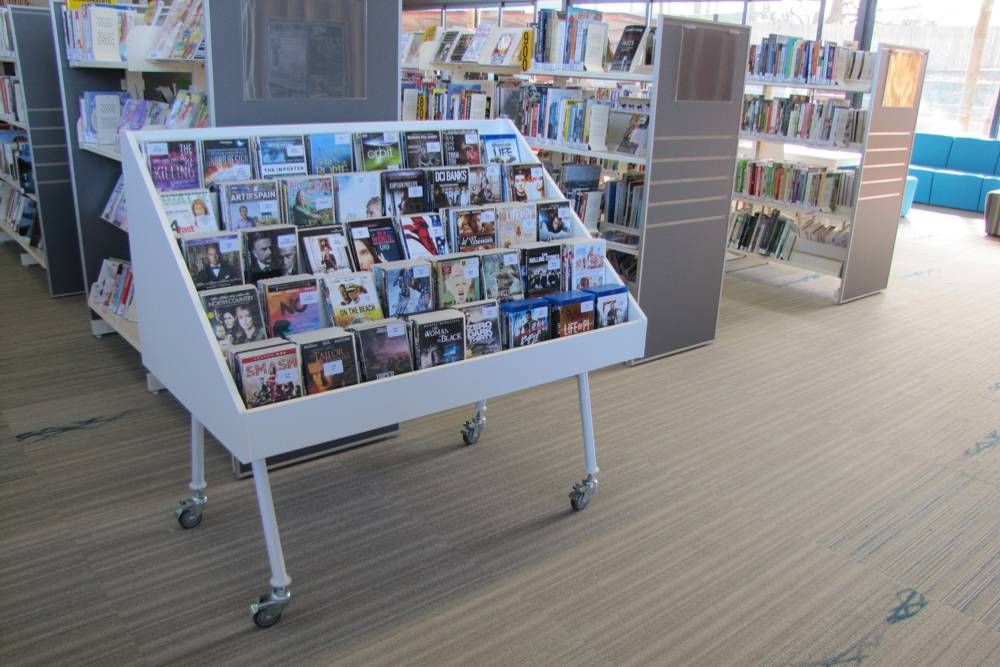 WOW Mobile CD Display, also kitted out with DVD's for more face display, at Waiheke Library.