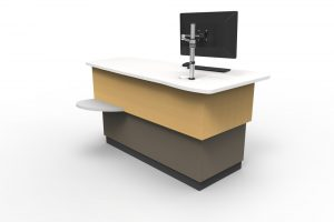 A classic, height adjustable issues / help station, featuring a rectangular desktop.