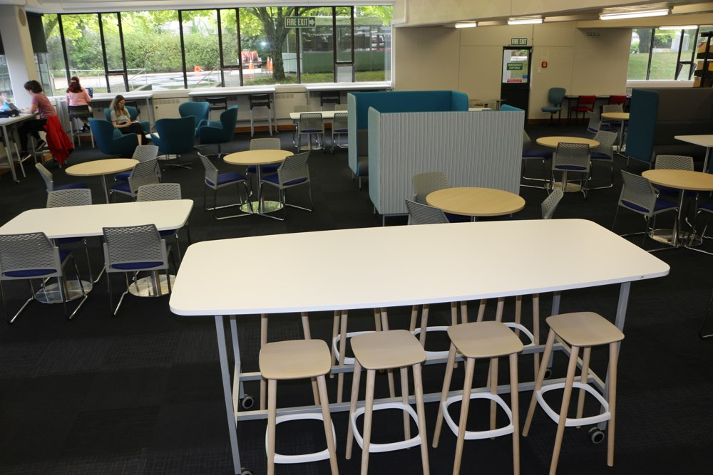 A range of furniture offers students a choice of places to study, relax and socialise.