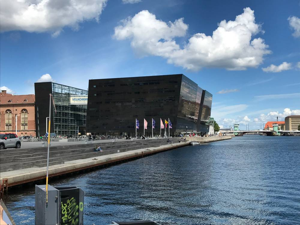 Exterior of the Black Diamond on the Copenhagen waterfront (interior shown in first picture).