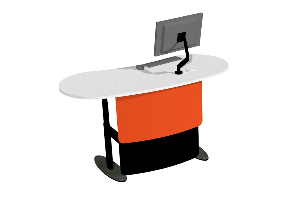 BEAN 1800 Island Desk in the standing position.